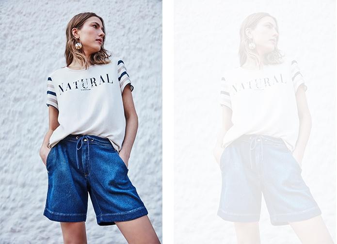 Bermuda jeans jogger feminina com camiseta off white com mangas listradas.