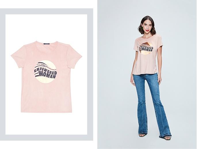 Calça flare com camiseta de malha rosa claro