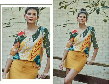 Saia mini color amarela com blusa estampada com maxi floral e detalhe de um mini botão no decote.