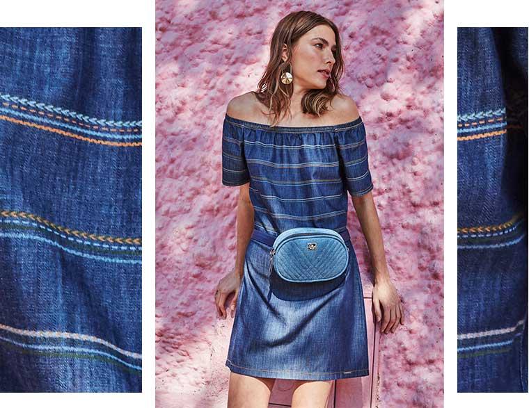 Vestido mini jeans listrado ombro a ombro mais bolsa azul claro em jeans.