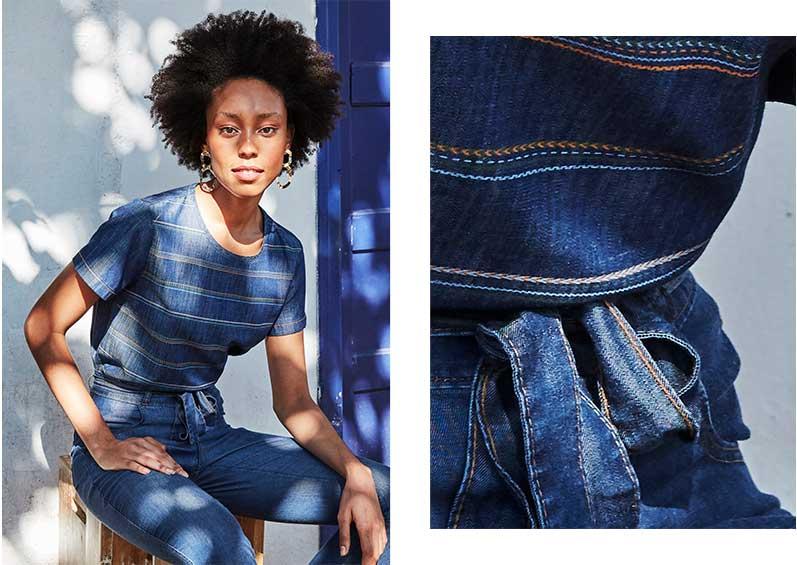 Camiseta feminina em tecido jeans listrada com calça jeans com amarração na cintura.