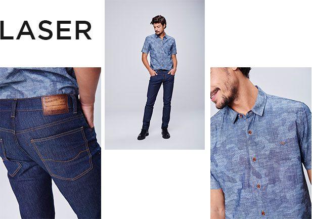 Calça jeans escuro masculina e camisa de manga curta jeans com estampa, as duas peças com zero descarte de água.