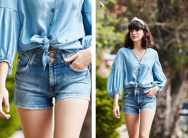 Short jeans claro com dois botões