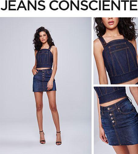 Peças com zero descarte de água, saia mini jeans com top cropped jeans, ambos em jeans escuro.