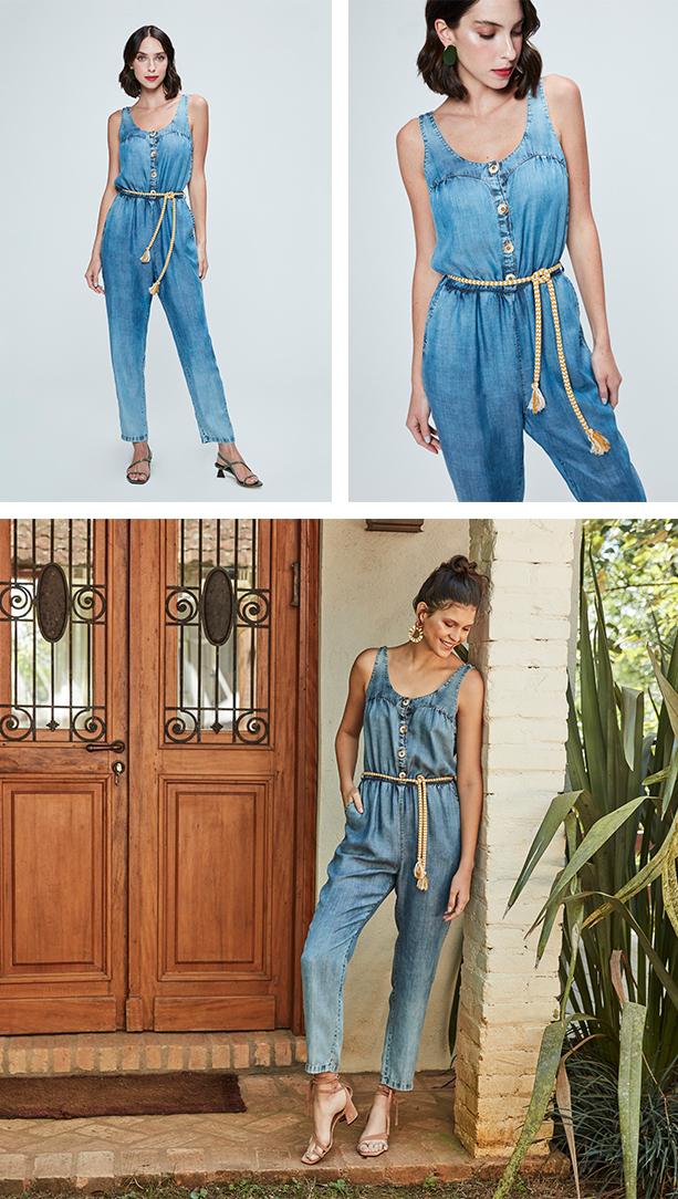 Macacão jeans claro cropped e regata