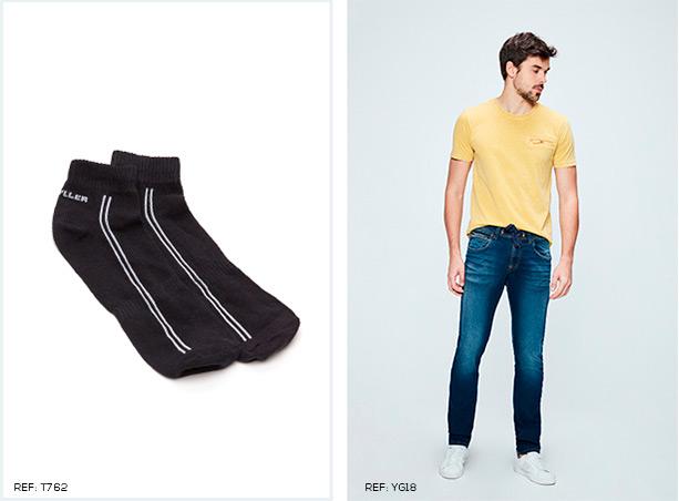 Meia masculina preta com listras brancas. Calça skinny jeans escuro e camiseta de malha amarela.