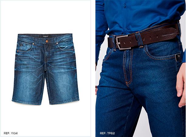 Bermuda masculina jeans escuro. Calça jeans escuro com cinto marrom e fivela prata, camisa social azul marinho.