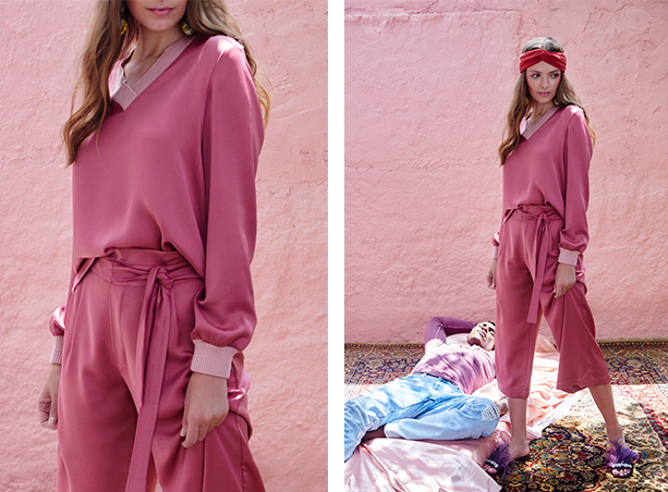 Calça pantacourt com detalhe de amarração na cintura e blusa de mangas longas, ambos na mesma cor, rosa escuro.