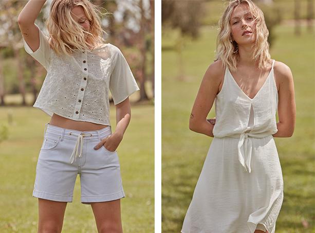Bermuda jogger branca com cordão na cintura e blusa com manga 3/4 branca de tecido laise e com fechamento de botões frontais. Vestido branco de tecido leve de alças com detalhe de amarração na cintura.