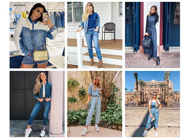 Fotos de influencers usando o jeans Damyller, entre elas: Thássia Naves, Paola Antonini, Mica Rocha, Jade Seba e Luisa Accorsi.
