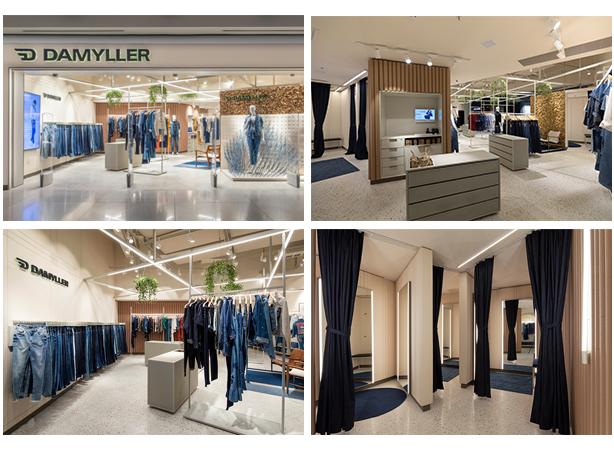 Fotos das lojas novas da Damyller voltadas para a Sustentabilidade. Entrada da loja, provadores e espaço dos Jeans.