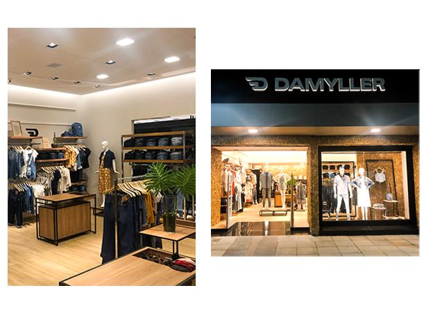 Lojas reformadas da Damyller. Foto da faixada da loja de rua, e espaço dentro da loja.