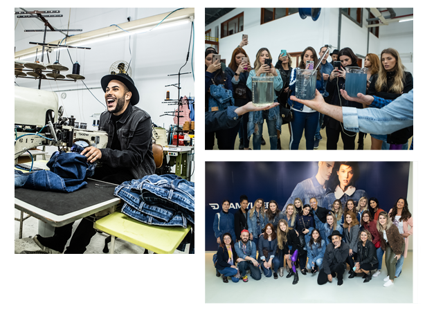 Hugo Gloss costurando, ele usando jaqueta jeans preta e chapeú preto. Foto de influencers juntas, como Paola Antonini, Mica Rocha, Marcella Di Donato e outras.