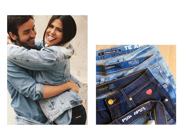 Casal abraçado, ambos usando jeans claro, ela jaqueta ele camisa de manga longa. No outro lado, calças jeans com termocolantes de amor.