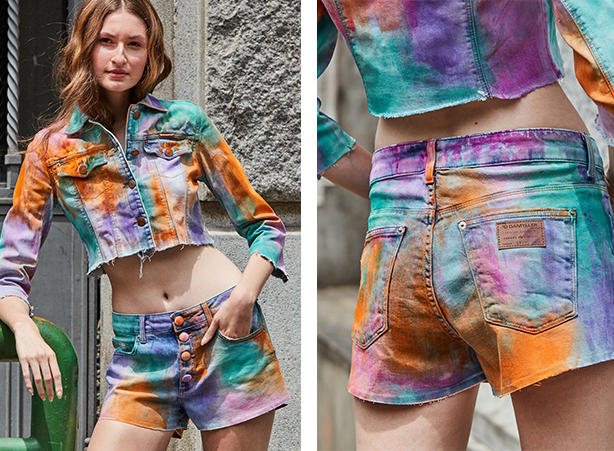 Conjunto de short mini e jaqueta trucker em tie dye colorido