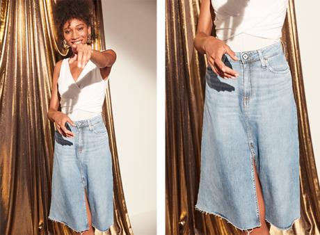 Saia midi jeans claro com fenda frontal e body branco cruzado