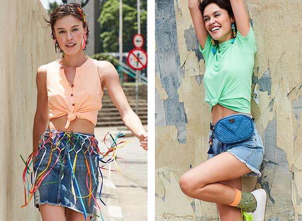 Saia mini jeans destroyed com barra desfiada e regata laranja neon com botões no decote e usada com detalhe de nozinho. Short mini jeans claro com barra desfiada e blusa verde neon com gola alta.