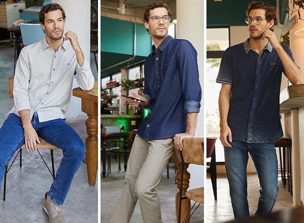 Calça masculina jeans estonado com camisa de maga longa na cor cru; Calça masculina skinny na cor caqui com camisa masculina jeans escuro de manga longa; Calça masculina jeans escuro com camisa de malha denim de mangas curtas.