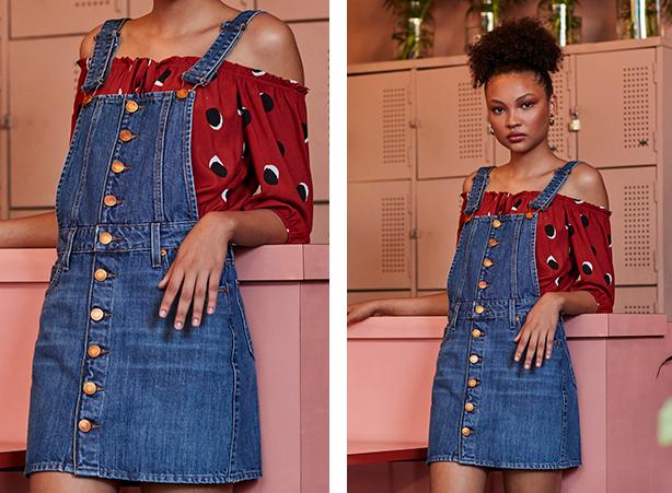 Jardineira saia em jeans médio com botões