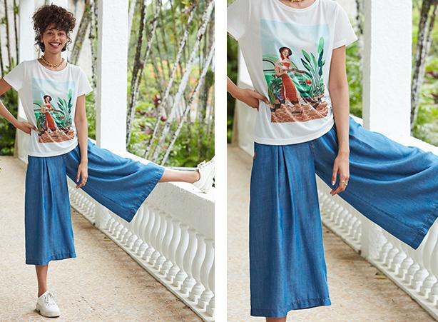 Camiseta em malha cor off white com estampa centralizada e calça pantacourt em jeans leve.