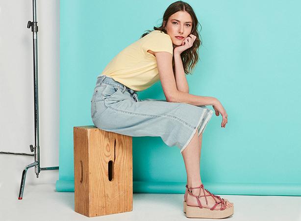 Pantacourt jeans barra desfiada