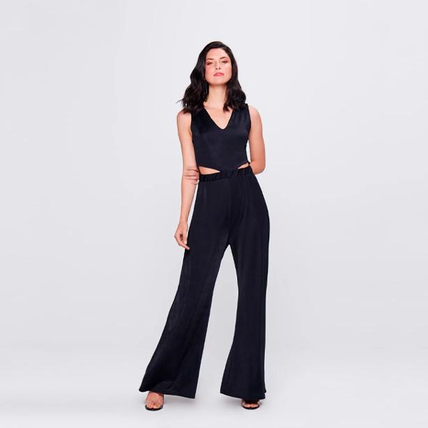 Macacão feminino pantalona preto