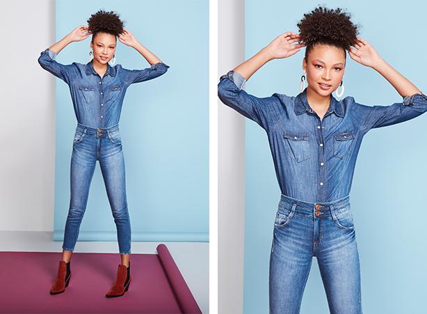Camisa feminina jeans de mangas longas