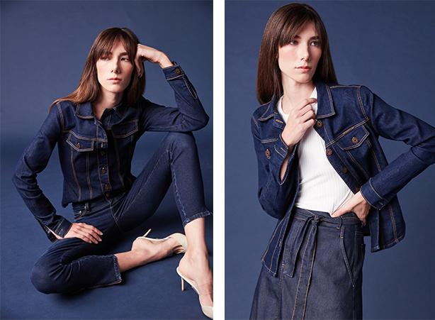 Jaqueta jeans feminina com botões