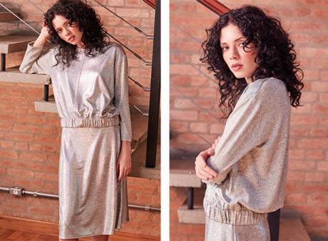 Moletom feminino de tricô na cor metalizada, com saia midi toda metalizada