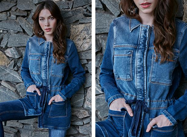 Parka feminina jeans com bolsos frontais
