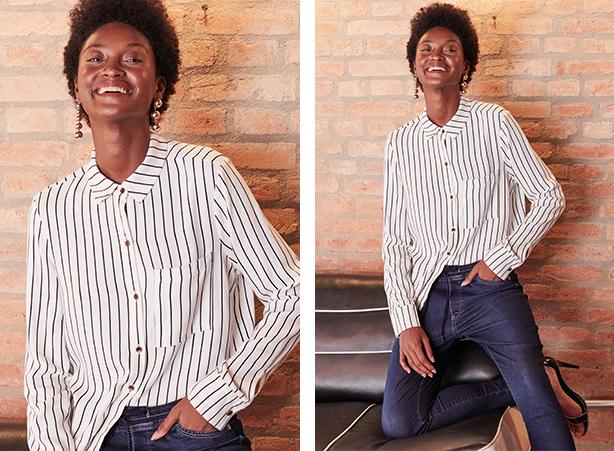 Camisa branca com listras pretas e detalhe de bolso na frente no lado esquerdo, abotoamento frontal e mangas longas com calça feminina jogger em jeans escuro.