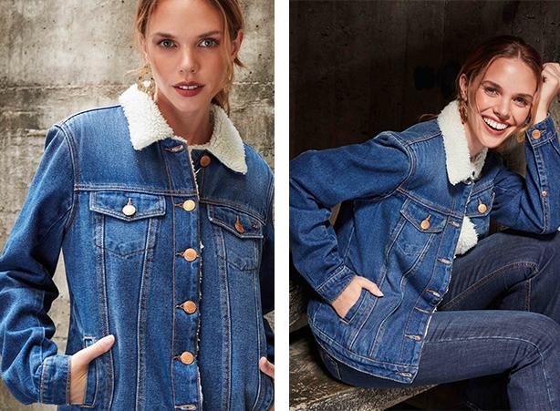 jaqueta jeans com gola de pelo