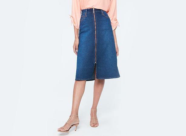Saia jeans midi para home office