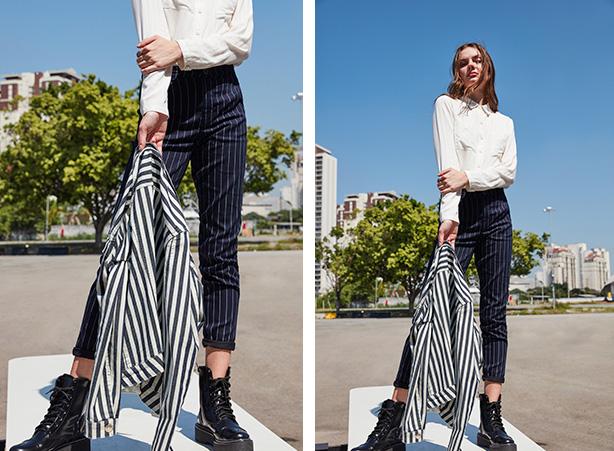 Calça jeans listrada com blazer